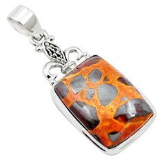 20.65cts natural brown bauxite 925 sterling silver pendant jewelry m62547