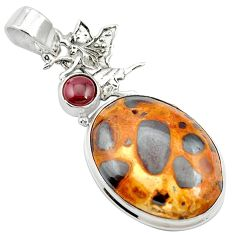 21.48cts natural brown bauxite garnet 925 sterling silver pendant jewelry m62549