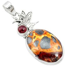 21.48cts natural brown bauxite garnet 925 sterling silver pendant jewelry m62550