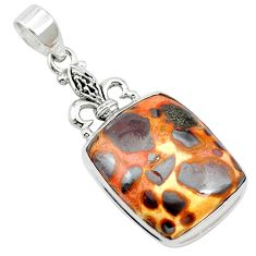 19.72cts natural brown bauxite 925 sterling silver pendant jewelry m62556