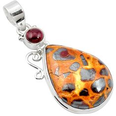16.92cts natural brown bauxite garnet 925 sterling silver pendant jewelry m62559