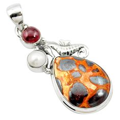 Natural brown bauxite garnet 925 sterling silver pendant jewelry m62683