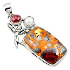 Natural brown bauxite garnet 925 sterling silver pendant jewelry m62684