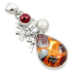 Natural brown bauxite garnet 925 sterling silver pendant jewelry m62687