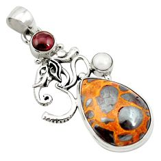 Natural brown bauxite garnet 925 sterling silver pendant jewelry m62696