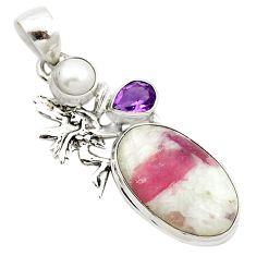 Natural pink tourmaline in quartz amethyst 925 silver pendant m62701
