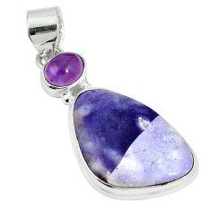 Natural purple tiffany stone amethyst 925 silver pendant jewelry m64003