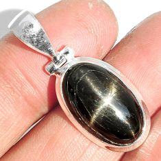 12.69cts natural black star 925 sterling silver pendant jewelry m64125