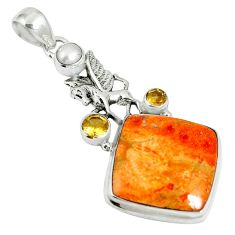 23.15cts natural red sponge coral citrine 925 sterling silver pendant m64481