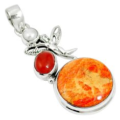19.27cts natural red sponge coral onyx 925 sterling silver pendant m64483