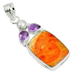 18.46cts natural red sponge coral amethyst 925 sterling silver pendant m64484