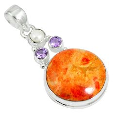 17.95cts natural red sponge coral amethyst 925 sterling silver pendant m64485