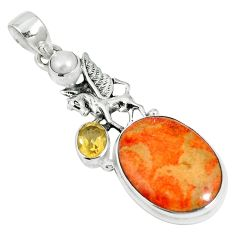 17.42cts natural red sponge coral citrine 925 sterling silver pendant m64486