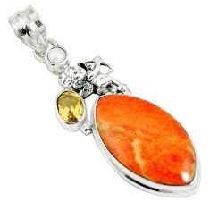 17.95cts natural red sponge coral citrine 925 sterling silver pendant m64487