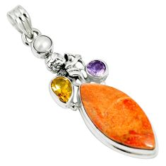 18.46cts natural red sponge coral amethyst 925 sterling silver pendant m64488