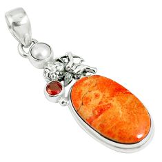 16.87cts natural red sponge coral garnet 925 sterling silver pendant m64489