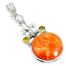 21.23cts natural red sponge coral citrine 925 sterling silver pendant m64492