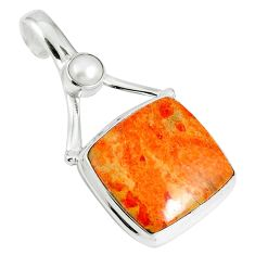 16.06cts natural red sponge coral pearl 925 sterling silver pendant m64493