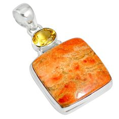 22.59cts natural red sponge coral citrine 925 sterling silver pendant m64494