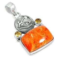 18.45cts natural red sponge coral citrine 925 sterling silver pendant m64495