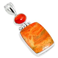 19.72cts natural red sponge coral onyx 925 sterling silver pendant m64496