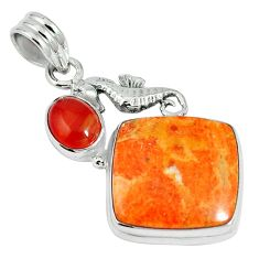 19.23cts natural red sponge coral onyx 925 sterling silver pendant m64499