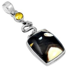 Natural brown peanut petrified wood fossil 925 silver pendant m64506