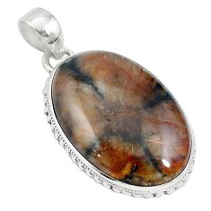 925 sterling silver natural brown chiastolite oval pendant jewelry m64671