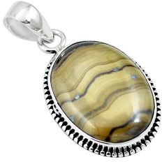 Natural yellow schalenblende polen 925 sterling silver pendant m64682