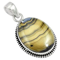 Natural yellow schalenblende polen 925 sterling silver pendant m64688