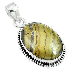 Natural yellow schalenblende polen 925 sterling silver pendant m64692