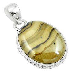 Natural yellow schalenblende polen 925 sterling silver pendant m64695
