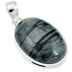 925 sterling silver natural black picasso jasper oval pendant jewelry m64733