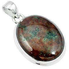 Natural green grass garnet 925 sterling silver pendant jewelry m64752