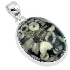 Natural black crinoid fossil 925 sterling silver pendant jewelry m64779