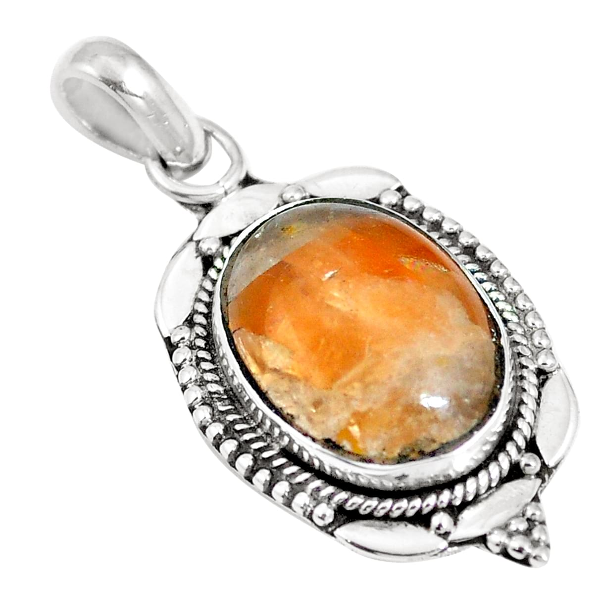 Solid 925 Sterling Silver Stylish Jewelry Natural Yellow Copper Calcite Gemstone Pendant