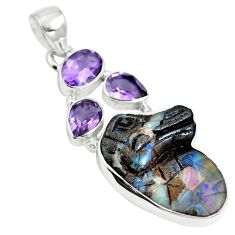 Natural brown boulder opal amethyst 925 sterling silver pendant m65981