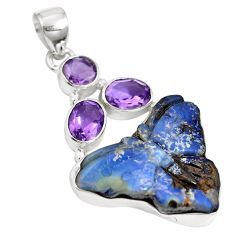 Natural brown boulder opal amethyst 925 sterling silver pendant m65983