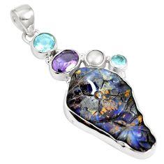 925 sterling silver natural brown boulder opal amethyst pendant m65984