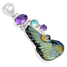 Natural brown boulder opal amethyst 925 sterling silver pendant m65985