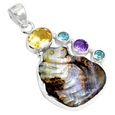 Natural brown boulder opal amethyst 925 sterling silver pendant m65986