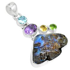 Natural brown boulder opal amethyst 925 sterling silver pendant m65990