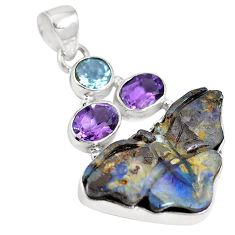Natural brown boulder opal amethyst 925 sterling silver pendant m65991