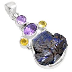Natural brown boulder opal amethyst 925 sterling silver pendant m65992