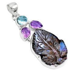 925 sterling silver natural brown boulder opal amethyst pendant jewelry m65993