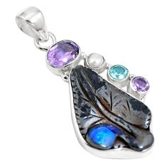 Natural brown boulder opal amethyst 925 sterling silver pendant m65994