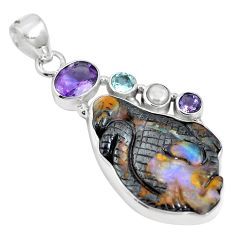 Natural brown boulder opal amethyst 925 sterling silver pendant m65995