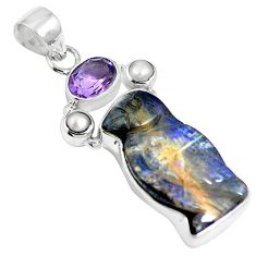 Natural brown boulder opal amethyst 925 sterling silver pendant m65996