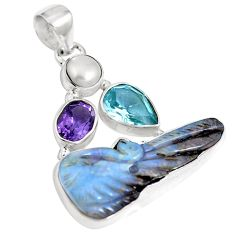 Natural brown boulder opal amethyst 925 sterling silver pendant m65997