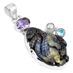 Natural brown boulder opal amethyst 925 sterling silver pendant m65998